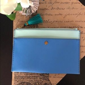J. Crew Medium Colorblock Saffiano Leather Pouch